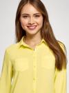 Блузка с нагрудными карманами и регулировкой длины рукава oodji #SECTION_NAME# (желтый), 11400355-3B/14897/6700N - вид 4