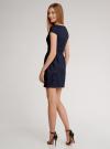 Платье трикотажное кружевное oodji для женщины (синий), 14001154-2/42644/7900N - вид 3