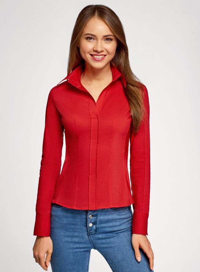 Рубашка хлопковая прилегающего силуэта oodji #SECTION_NAME# (красный), 21407048/42853/4500N