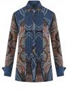 Блузка свободного силуэта с декоративными отстрочками на груди oodji #SECTION_NAME# (синий), 21411110/42549/7933E