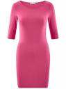 Платье трикотажное облегающего силуэта oodji #SECTION_NAME# (розовый), 14001121-4B/46943/4700N