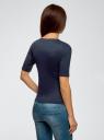 Джемпер в рубчик с круглым вырезом oodji для женщины (синий), 14701075/46412/7900N