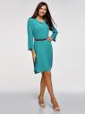 Платье вискозное с ремнем oodji #SECTION_NAME# (зеленый), 11900180B/42540/6C00N - вид 6