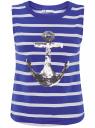 Топ полосатый с декором из пайеток oodji для женщины (синий), 24305005-3/46154/7591P