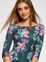 Платье трикотажное принтованное oodji #SECTION_NAME# (зеленый), 14001150-3/33038/7683F - вид 4