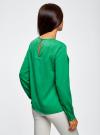 Блузка с вырезом-капелькой и металлическим декором oodji #SECTION_NAME# (зеленый), 21400396/38580/6D00N - вид 3