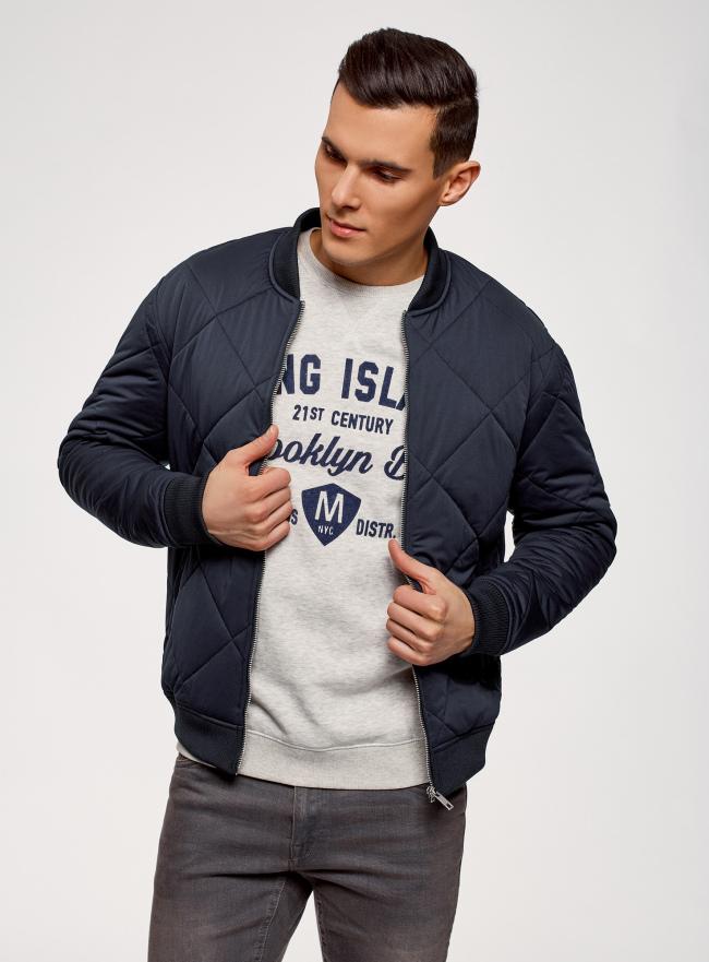 Куртка-бомбер на молнии oodji для мужчины (синий), 1L111031M/47669N/7900N