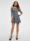 Платье из плотной ткани с принтом oodji #SECTION_NAME# (синий), 14001150-4/33038/1079E - вид 2