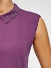 Топ из струящейся ткани с декором на воротнике oodji для женщины (фиолетовый), 14911006-1/43414/8300N - вид 5