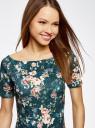 Платье трикотажное с вырезом-лодочкой oodji #SECTION_NAME# (зеленый), 14007026-2B/42588/6E43F - вид 4