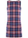 Платье клетчатое без рукавов oodji #SECTION_NAME# (синий), 11910072-2/32831/7945C