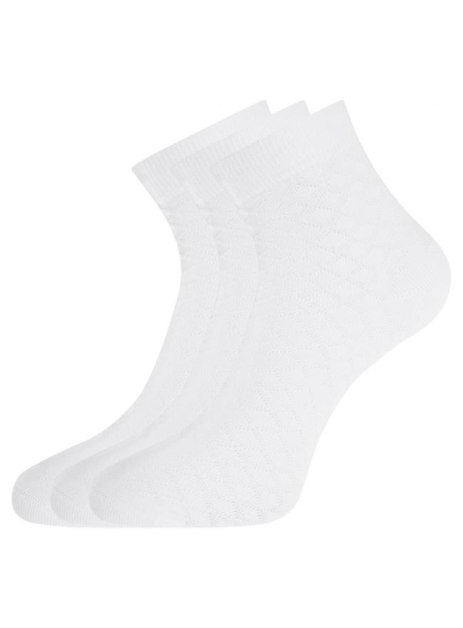 Комплект из трех пар хлопковых носков oodji для женщины (белый), 57102711-1T3/48022/1