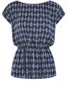 Блузка принтованная из вискозы oodji #SECTION_NAME# (синий), 11400345-1/24681/7954E