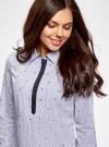 Рубашка принтованная с контрастной отделкой oodji #SECTION_NAME# (белый), 11403222-1/45202/1079O - вид 4