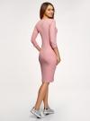 Платье в рубчик с рукавом 3/4 oodji #SECTION_NAME# (розовый), 14001196/46412/4101N - вид 3