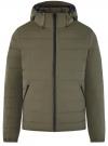 Куртка утепленная с капюшоном oodji #SECTION_NAME# (зеленый), 1B112036M/49421N/6600N