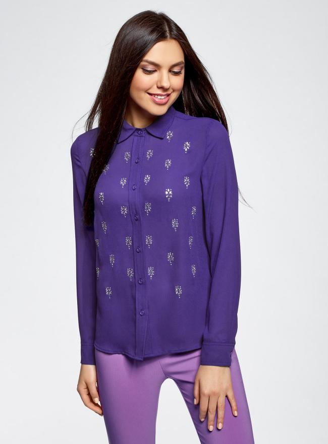 Блузка из струящейся ткани с украшением из страз oodji #SECTION_NAME# (фиолетовый), 11411128/36215/7500N