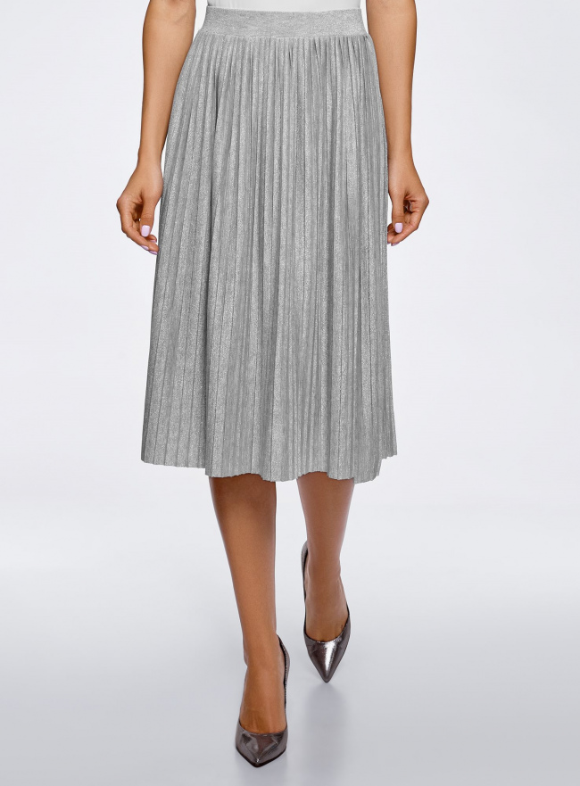 Юбка миди плиссированная oodji для женщины (серый), 14100072/46609/2000X