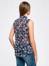 Топ из струящейся ткани с рубашечным воротником oodji для женщины (синий), 14903001B/42816/7940E - вид 3