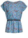 Блузка принтованная из вискозы oodji #SECTION_NAME# (синий), 11400345-2/24681/7041F