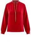 Блузка из струящейся ткани с металлическим украшением oodji #SECTION_NAME# (красный), 21414004/45906/4500N