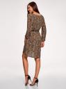 Платье вискозное с ремнем oodji #SECTION_NAME# (коричневый), 11900180B/48458/3729A - вид 3