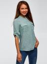 Блузка вискозная с нагрудными карманами oodji #SECTION_NAME# (зеленый), 11403225-7B/42540/6910G - вид 2