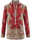 Блузка из струящейся ткани с принтом oodji #SECTION_NAME# (красный), 21411144-3/35542/4939E