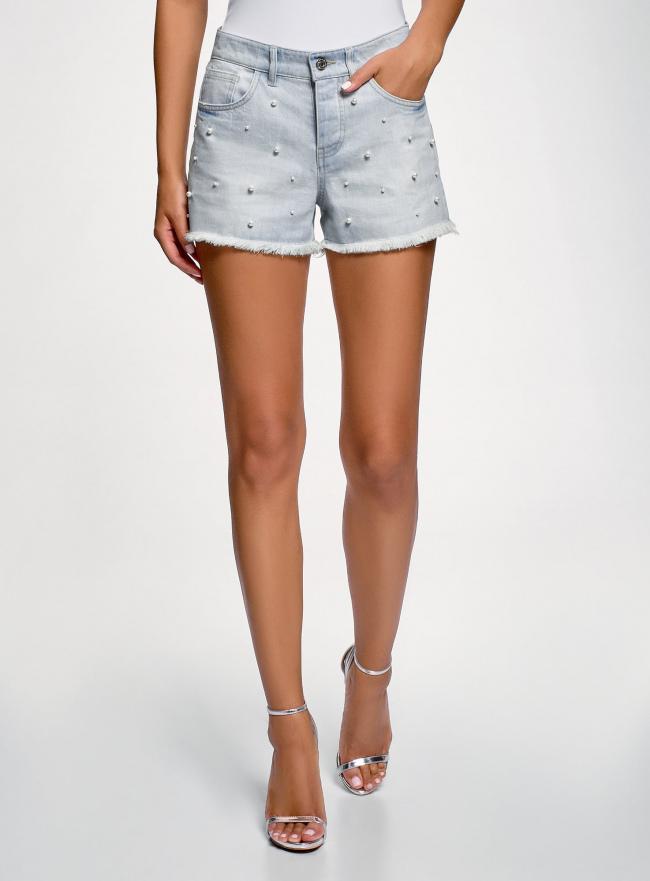 Шорты джинсовые с бисером oodji #SECTION_NAME# (синий), 12807091/46788/7000W