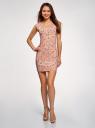 Платье трикотажное с круглым вырезом oodji #SECTION_NAME# (розовый), 14008014-6B/46943/4312F - вид 2