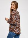 Блузка вискозная с завязками на воротнике oodji #SECTION_NAME# (разноцветный), 11411123/26346/3770F - вид 3