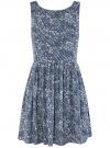Платье принтованное с бантом на спине oodji #SECTION_NAME# (синий), 11900181/35271/7970F