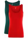 Комплект из двух базовых маек oodji для женщины (красный), 24315001T2/46147/456EN