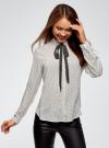 Блузка вискозная с завязками oodji #SECTION_NAME# (белый), 11411169/24681/1229D - вид 2