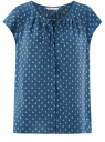Блузка свободного силуэта с бантом oodji #SECTION_NAME# (синий), 11411154-1B/24681/7912O