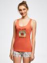 Пижама с шортами принтованная oodji #SECTION_NAME# (оранжевый), 56002187-6/47692/4329P - вид 2