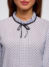 Блузка с декоративными завязками и оборками на воротнике oodji #SECTION_NAME# (синий), 11411091-3/48458/7079D - вид 4