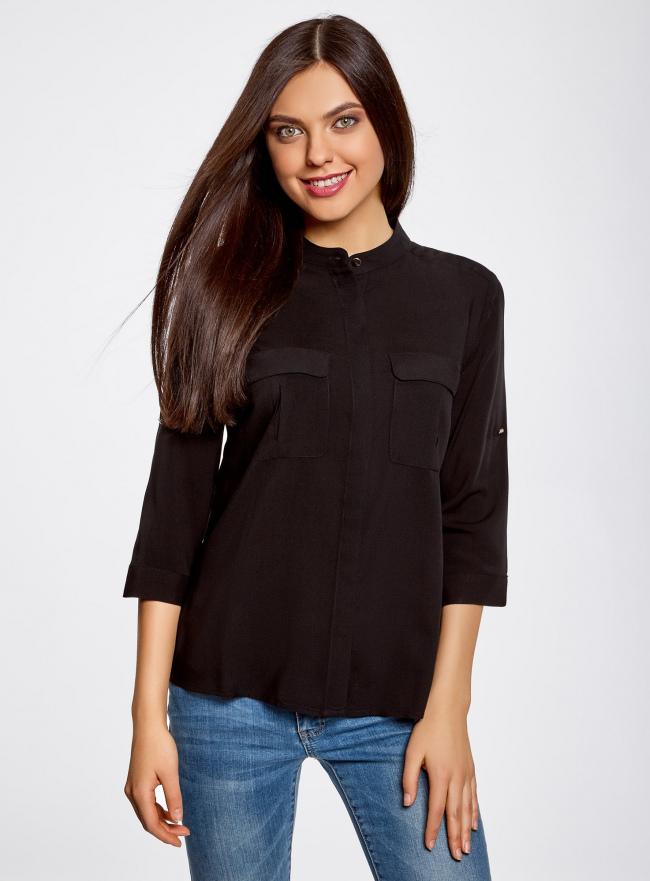 Блузка вискозная с регулировкой длины рукава oodji для женщины (черный), 11403225-2B/26346/2900N