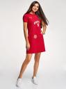 Платье трикотажное свободного силуэта oodji #SECTION_NAME# (красный), 14000162-10/46155/4519P - вид 6
