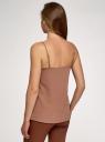 Топ из струящейся ткани на тонких бретелях oodji для женщины (коричневый), 14911016/48728/3702N