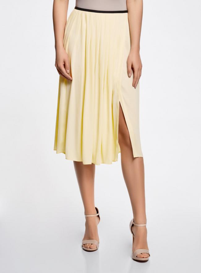 Юбка длинная с контрастным поясом oodji #SECTION_NAME# (желтый), 11600379-1/42662/5000N