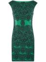 """Платье трикотажное с принтом """"кружево"""" oodji #SECTION_NAME# (зеленый), 14001170/37809/6D29L"""