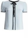 Блузка с коротким рукавом и контрастной отделкой oodji для женщины (синий), 11401254/42405/7000N