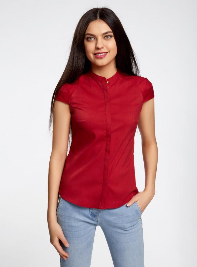 Рубашка с коротким рукавом из хлопка oodji для женщины (красный), 11403196-1/18193/4500N