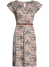 Платье трикотажное с ремнем oodji #SECTION_NAME# (разноцветный), 24008033-2/16300/3037G