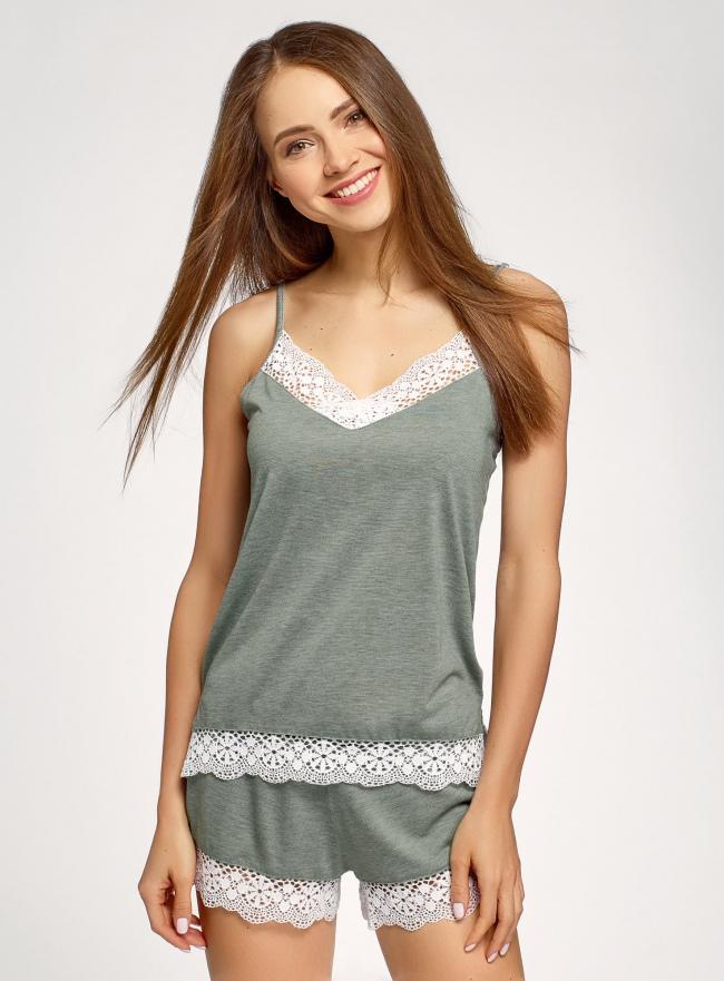 Пижама с шортами и кружевной отделкой oodji для женщины (зеленый), 56002204/46875/6812B