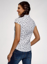 Рубашка с воротником-стойкой и коротким рукавом реглан oodji #SECTION_NAME# (белый), 13K03006B/26357/1029Q - вид 3