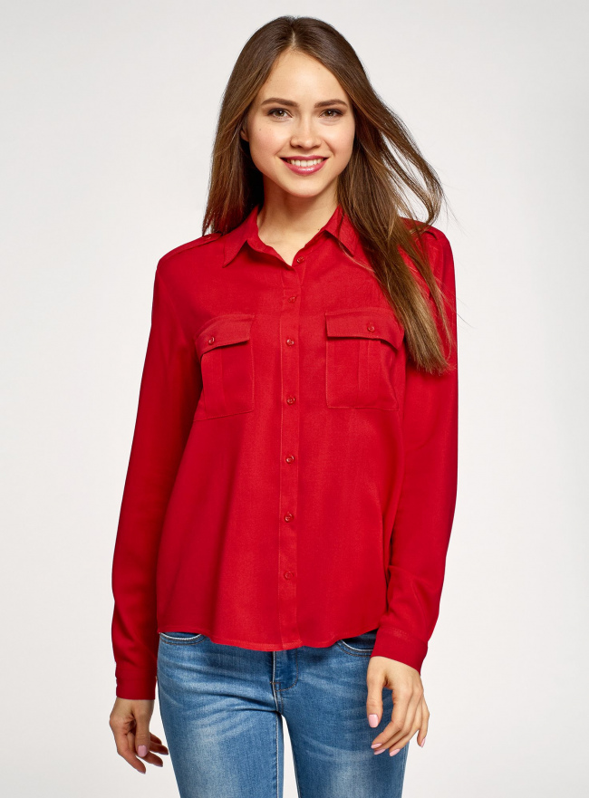 Блузка базовая из вискозы с нагрудными карманами oodji #SECTION_NAME# (красный), 11411127B/26346/4500N