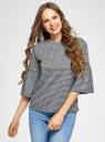 Блузка с воланами на рукавах oodji для женщины (черный), 14201527-2/49746/2912C