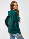 Худи базовая с карманом oodji для женщины (зеленый), 15401001B/47883/6E00N